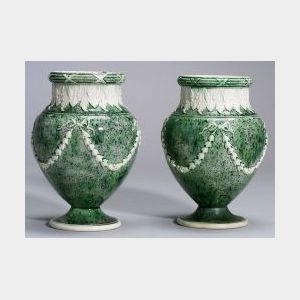 Pair of Wedgwood White Terra Cotta Stoneware Porphyry Vases