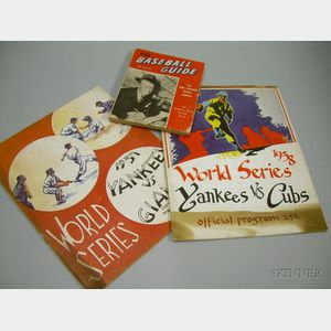 1937 World Series Yankees vs. Giants Official Program, a 1938 World Series Yankees vs. Cubs Offi...