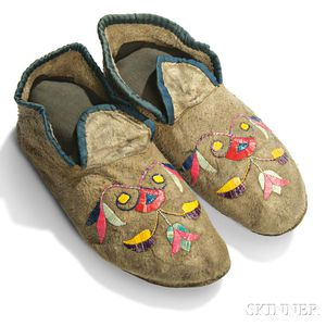Eastern Sioux Quill-decorated Hide Moccasins