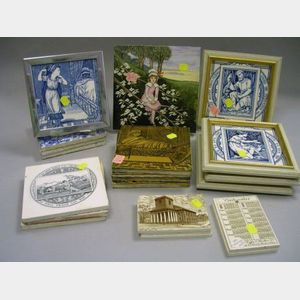 Fifteen Wedgwood Transfer Decorated Tiles, a Minton Handpainted Tile, and Five   Wedgwood Calendar Tiles