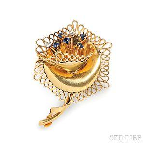 18kt Gold, Sapphire, and Diamond Brooch, Van Cleef & Arpels