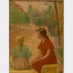 E. Leon Durand (American, 19th/20th Century)      Girls in Washington Square Park