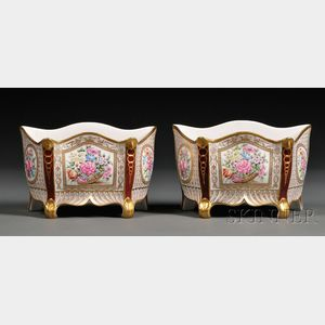 Pair of Enameled and Gilded Porcelain Bough Pots