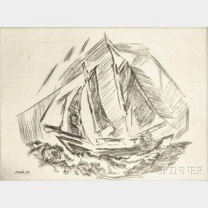 John Marin (American, 1870-1953)      Sailboat