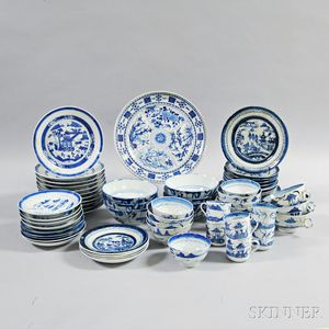 Approximately Sixty-three Pieces of Blue and White Canton Porcelain