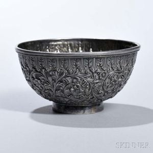 British Colonial Silver Repousse Bowl