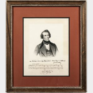 Meyerbeer, Giacomo (1791-1864) Signed and Inscribed Engraved Portrait.