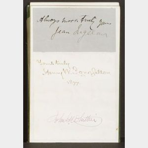 Small oblong autograph book in gilt stamped green cloth