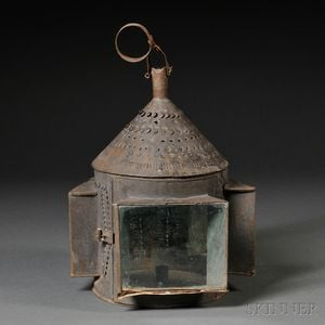 Pierced Tin and Glass Candle Lantern
