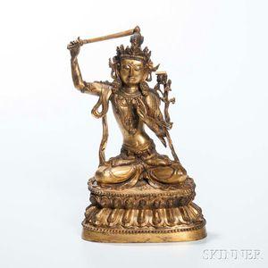Gilt-bronze Figure of Wenshu Manjushri