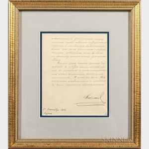 Nicholas II, Emperor of Russia (1868-1918) Secretarial Note Signed, 1902.