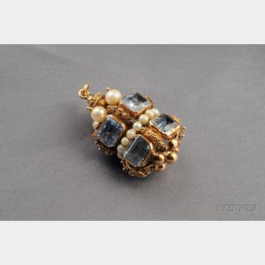18kt Gold, Synthetic Blue Spinel, and Cultured Pearl Pendant