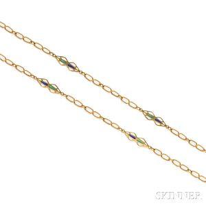 18kt Gold and Plique-a-Jour Enamel Longchain