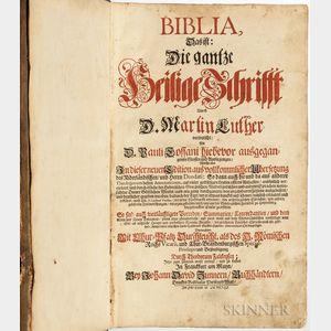 Bible, German. Biblia, Das ist Die Gantze Heilige Schrifft durch D. Martin Luther.