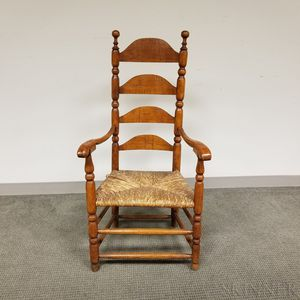 Early Turned Maple and Pine Ladder-back Armchair