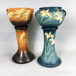 Two Roseville Pottery Jardinieres and Stands