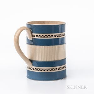 Engine-turned and Slip-decorated Pearlware Quart Mug