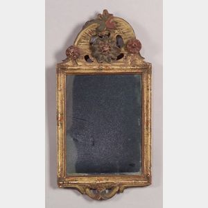 Polychrome Carved and Painted Wooden Courting Mirror