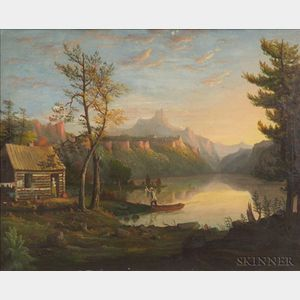 American School, 19th Century    Hudson River Valley Landscape with Log Cabin and Figures.