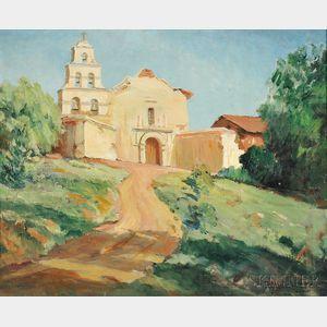 Attributed to Rebecca Christina Harrington (Canadian, 1911-2005)      Spanish Mission Church