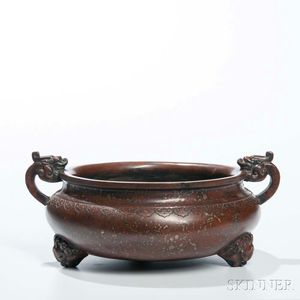 Copper Alloy Tripod Censer with Gilt Speckles