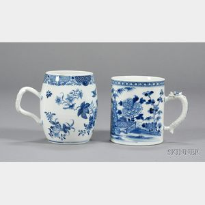 Two Large Blue and White Chinese Export Porcelain Canns
