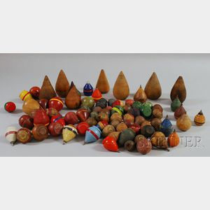 Approximately Seventy-four Turned Wooden Tops