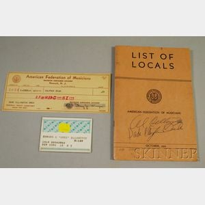 Duke Ellington's 1964 New York Musician Union Card and 1953 American Federation of   Musicians Local Book