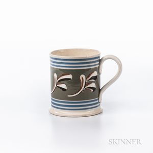 Trailed Slip Branch-decorated Pearlware Half-pint Mug