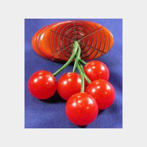 Bakelite Cherry Pin