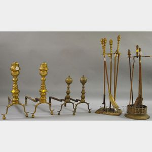 Two Pairs of Brass Andirons and Eight Brass Fireplace Tools and Stands