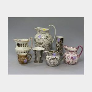 Five Wedgwood Lustre Decorated Ceramic Pitchers and Two Vases.