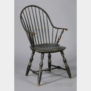Black-painted and Gilt Windsor Continuous Armchair