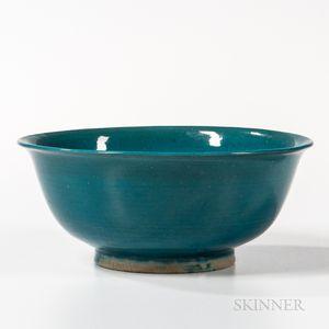 Monochrome Turquoise Blue-glazed Porcelain Bowl