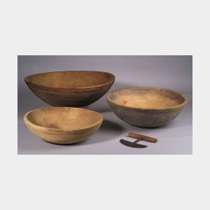 Three Turned Wooden Bowls and a Chopping Knife
