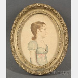 Attributed to Rufus Porter (American, 1792-1884)    Miniature Portrait of a Young Lady.