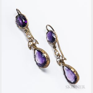 Amethyst and Diamond Earpendants