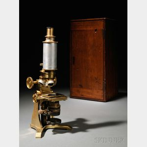 Casella Lacquered Brass Monocular Compound Microscope