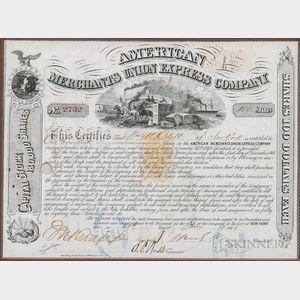 Fargo, William G. (1818-1881) Signed Stock Certificate, 28 January 1869.