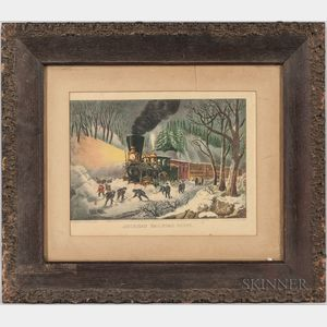 Framed Small Folio Currier & Ives American Railroad Scene   Lithograph
