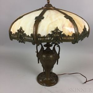 Bronze White Metal and Slag Glass Table Lamp