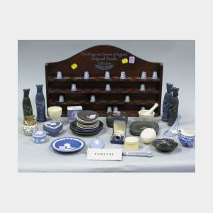 Thirty-eight Small Wedgwood Items and a Collection of Forty-two Light Blue Jasper   Thimbles