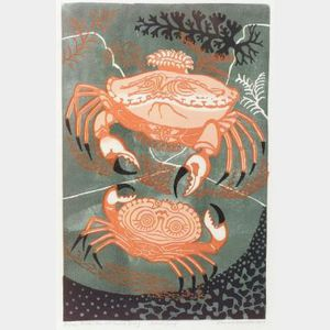 Edward Bawden (British, 1903-1989)  Aesop's Fable:  The Old Crab & Young
