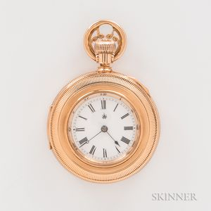 "Waltham 14kt Gold ""Wm. Ellery"" Demi Hunter Watch"