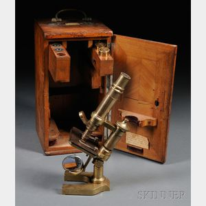 Lacquered Brass Monocular Microscope by E. Leitz