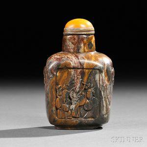 Flattened Rounded Rectangular Soapstone Snuff Bottle