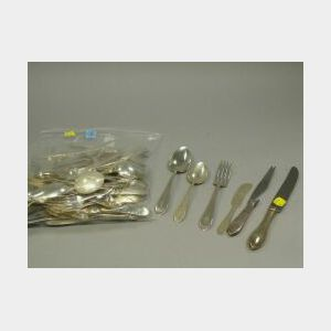 Thirty-six Piece Dominick & Haff Sterling Silver Flatware Set and Seventeen Pieces of Sterling and Silver Plated Flatware.