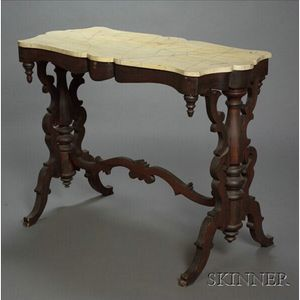 Rococo Revival Faux Marble and Rosewood Side Table