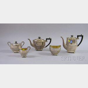 Five-piece Georgian-style Silver Plate Tea Set