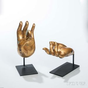 Two Buddhist Gilt-bronze Hands
